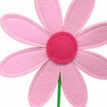Fleur en feutre rose, rose, vert Ø25.5cm x H67cm