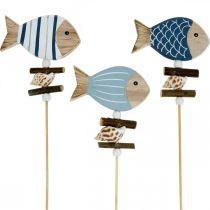 Bouchons décoratifs maritimes, poissons et coquillages sur le bâton, décorations marines, poisson en bois 6pcs