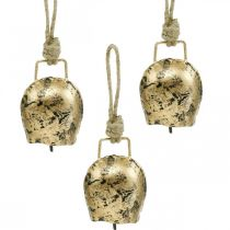 Cloches à accrocher, mini cloches à vache, maison de campagne, cloches en métal doré, aspect antique 7 × 5cm 12pcs