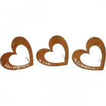 Puce coeur « En mémoire » « Amoureux » « Inoubliable », décoration funéraire, métal patiné 8×7cm 12pcs