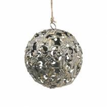 Boule à suspendre avec des ornements aspect antique métal doré Ø12cm