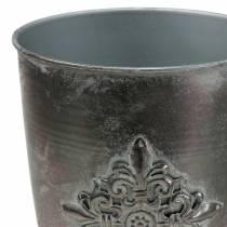 Gobelet décoratif en métal avec ornement gris argenté Ø16.5cm H31cm