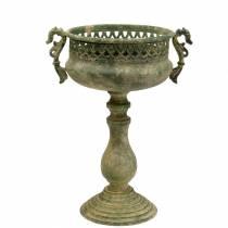 Coupe décorative aspect métal antique vert mousse Ø19cm H35,5cm