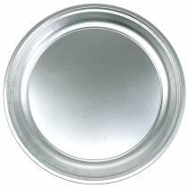 Plaque métal basique argent brillant Ø45.5cm H4cm