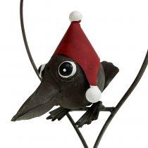 Oiseau dans suspension décorative en cœur, métal gris 48 cm