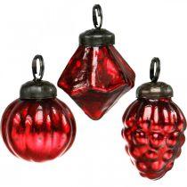 Mini mélange de décoration d'arbre, diamant / boule / cône, boules de verre aspect antique Ø3–3,5cm H4,5–5,5cm 9pcs