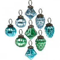 Mini boule de verre mix, diamant / boule / cône, décorations pour sapin de Noël aspect antique Ø3–3,5cm H4,5–5,5cm 9pcs
