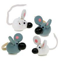 Mini souris en bois blanc gris 2cm 24pcs