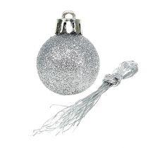 Mini boule de Noël argent Ø3cm 14pcs