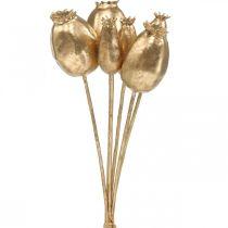 Capsules de graines de pavot graines de pavot artificielles or décoration de Noël 38cm 6pcs