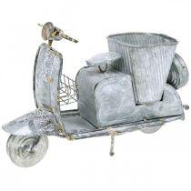 Pot de fleur scooter moteur métal vintage blanchi 35×12×23cm