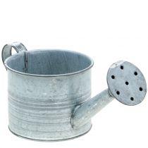 Jardinière arrosoir galvanisé gris lavé blanc H10cm