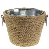 Pot en zinc avec pot en jute Ø13cm H12cm