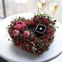 Coeur mousse floral noir 25,5cm 2pcs