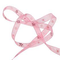 Ruban en organza rose avec motif 10 mm 20 m