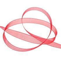 Ruban en organza lisière tissée 1,5 cm 50 m rouge
