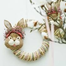 Décoration tête de lapin de Pâques à suspendre paille H32cm