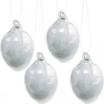 Décoration de Pâques à suspendre, oeuf en verre avec plumes, mini oeuf de Pâques, décoration printanière 8pcs