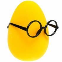 Oeuf de Pâques jaune avec des verres, oeuf de décoration floqué, décoration de Pâques