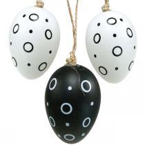 Oeufs de Pâques avec anneaux et points, décoration de printemps, décoration de Pâques monochrome 6pcs