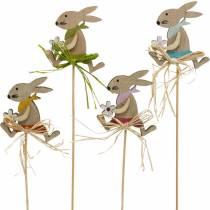 Lapin de Pâques avec fleur, décoration de lapin pour Pâques, lapin sur un bâton, printemps, bouchon de fleur de décoration en bois 12pcs
