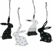 Lapin de Pâques à accrocher en bois noir et blanc Décoration de Pâques lapin 12pcs