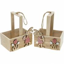 Panier de Pâques avec des lapins Décoration de Pâques à suspendre Panier de Pâques Décoration de printemps 2pcs