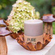 Bougie pilier pure marron 90/70 bougie stéarine durable et cire naturelle de colza