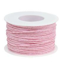 Cordon papier enroulé de fil Ø2mm 100m rose
