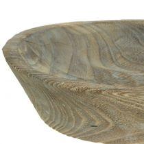 Bol décoratif en bois de paulownia ovale 44cm x 19cm H8cm