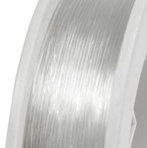 Fil d'enfilage de perles transparent 0,50 mm 50 m