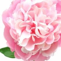 Fleur artificielle pivoine avec fleur et bourgeon rose 68cm
