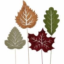 Piques florales feuilles 8 - 10 cm naturel/vert/mauve 24 p.