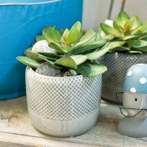Jardinière en céramique, pot motif tressé, pot en céramique Ø13cm 3pcs