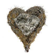 Cœur à garnir en sarments de vigne et mousse végétale 20 x 14 cm