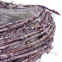 Cœur à garnir en sarments de vigne violet blanchi 27 x 24 cm
