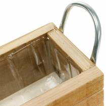 Boîte à plantes en bois avec poignées Boîte en bois naturel 23,5 × 12 cm