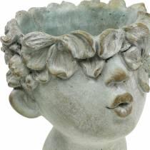 Buste tête de plante en pierre coulée Ø17,5cm H26cm