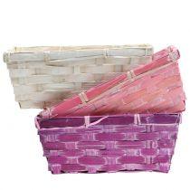 Panier à chips carré violet / blanc / rose 8pcs