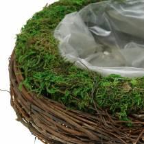 Bol à planter en rotin, mousse Ø26cm H9cm