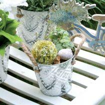 Cache-pot avec anses, bol décoratif avec motif fleuri, récipient en métal Ø14,5cm