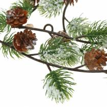 Guirlande de pins avec des cônes enneigés 145cm
