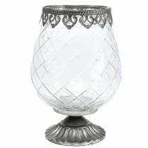 Gobelet en verre décoratif avec base en métal Ø16cm H23.5cm