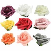 Foam-Rose Ø6cm différentes couleurs 27pcs