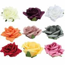 Foam-Rose Ø7,5cm différentes couleurs 18pcs