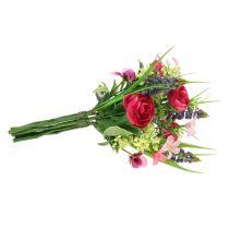 Ranunculus bouquet avec des jacinthes de raisin rose 25cm