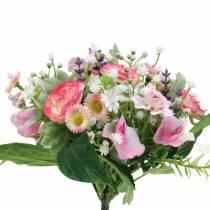 Bouquet artificiel aux renoncules et bellis rose, blanc Ø20cm