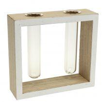 Vases éprouvette dans cadre en bois 13 x 12 cm 2 p.
