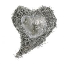 Coeur de vigne blanc délavé 16cm x 21cm 1p