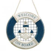 Bouée de sauvetage décorative, maritime, anneau flottant à suspendre Ø14cm